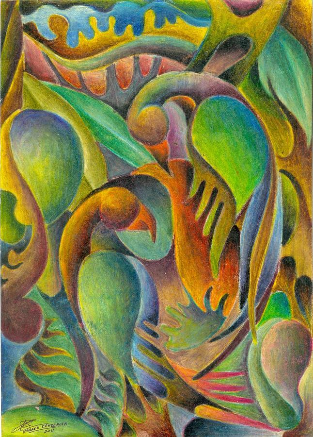 Fruits And Birds  Painting by Jaanaka Kandepola