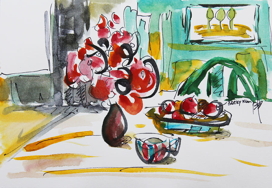 Abstract Painting - Fruits And Tea by Becky Kim