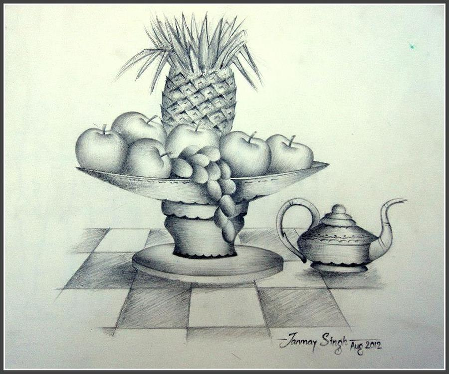 Fruits Drawing - Fruits In Basket by Tanmay Singh