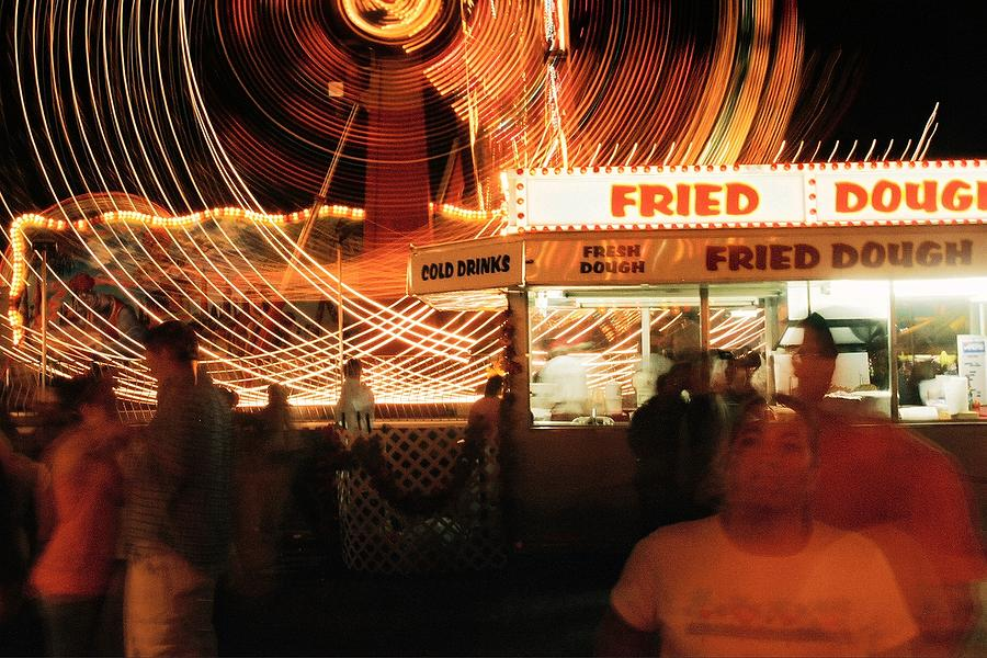 Fryeburg Photograph - Fryeburg Fair At Night  Fried Dough by John B Poisson