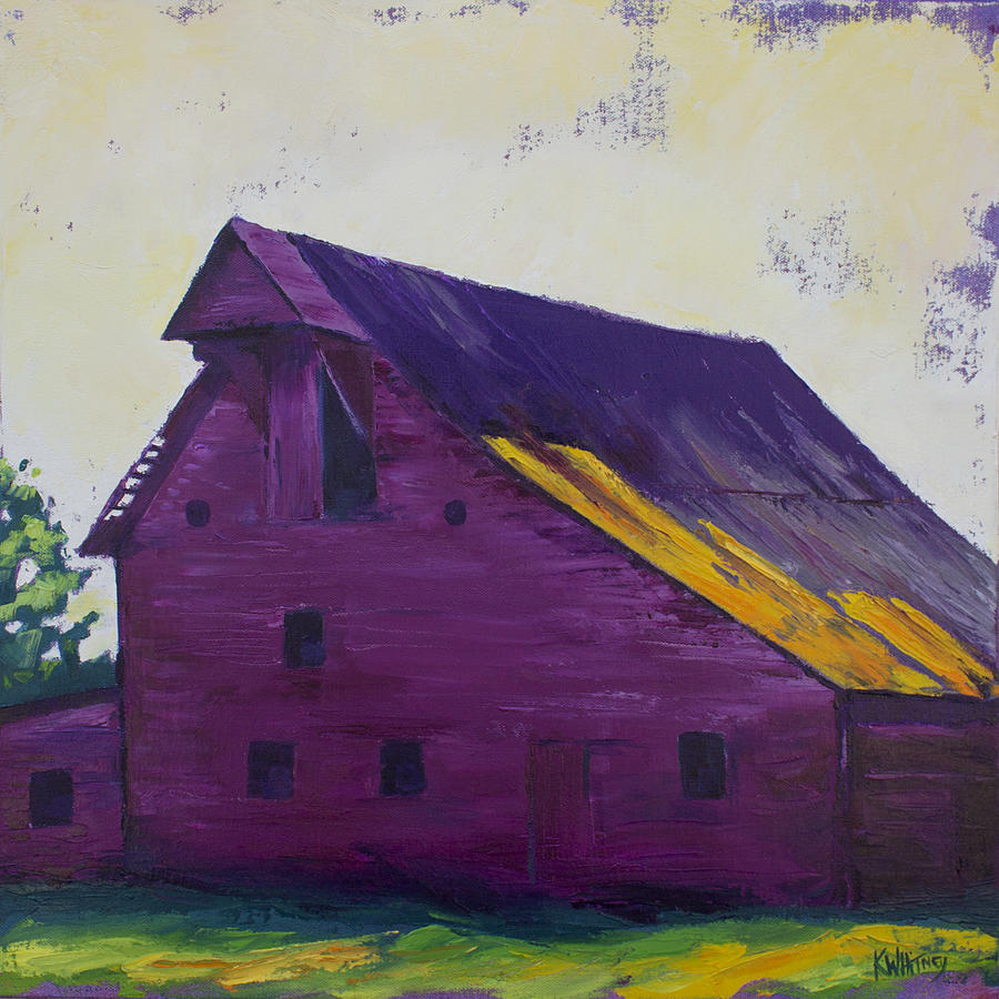 Barn Painting - Fuchsia Barn by Kristin Whitney