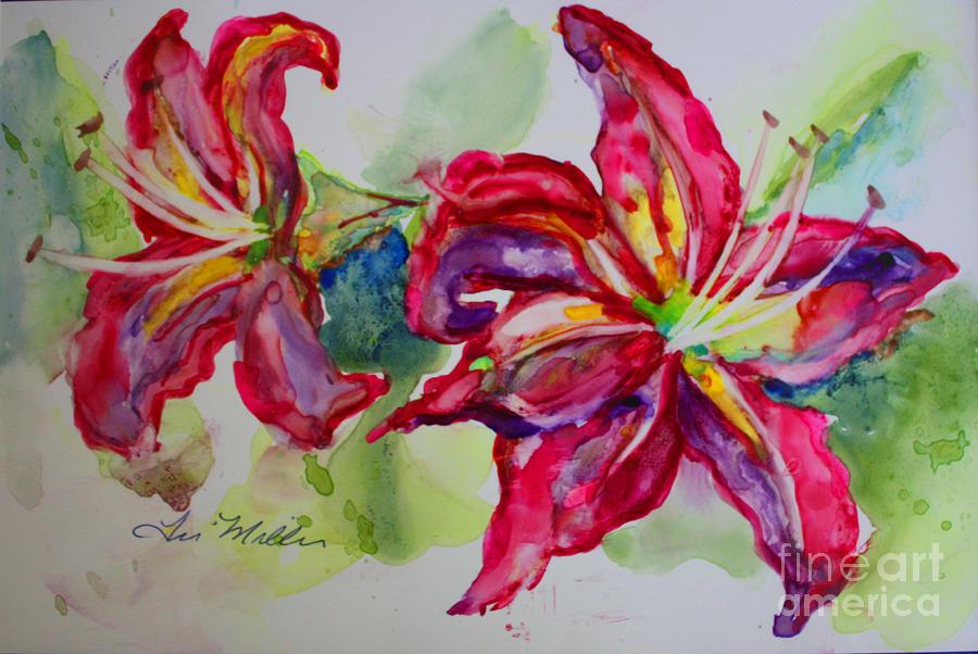 Fuschia Painting - Fuchsia Lilies by Terri Maddin-Miller