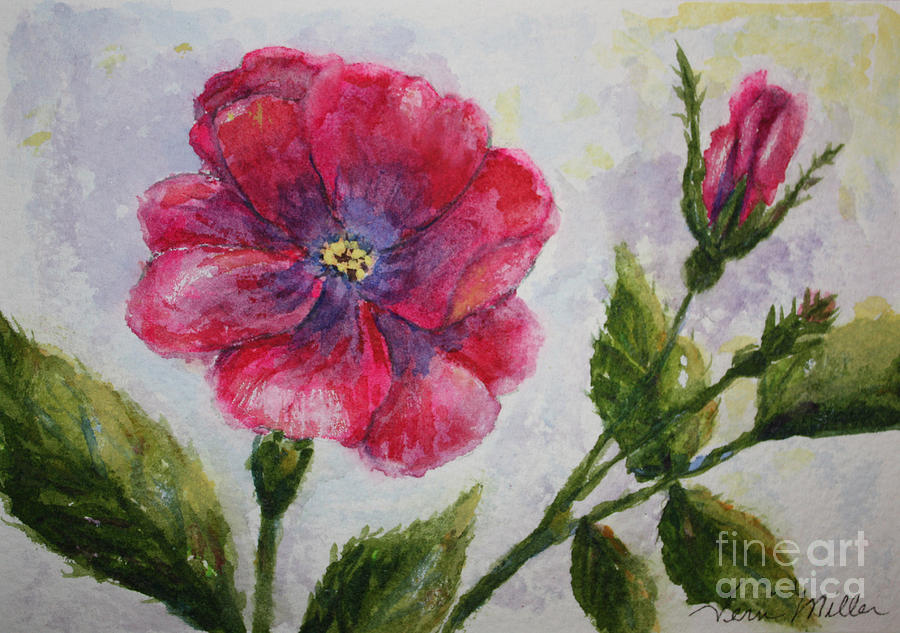 Pink Painting - Fuchsia Rose And Bud by Terri Maddin-Miller