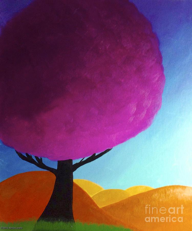 Fuchsia Tree Painting