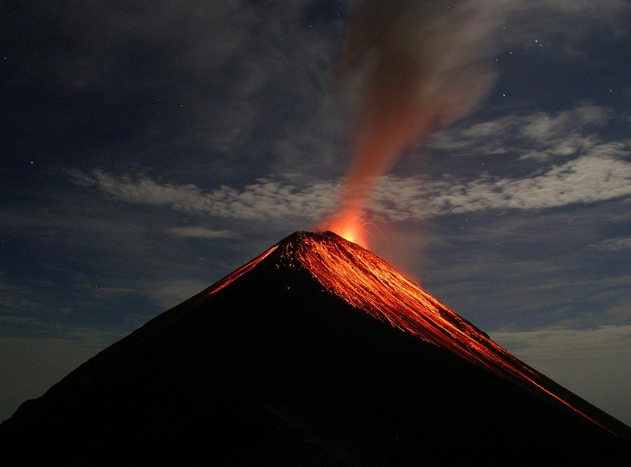 Volcano Photograph - Fuego On A Moonlit Night by Kevin Sebold