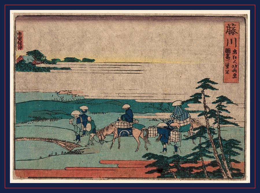 Fujikawa Drawing - Fujikawa, Katsushika 1804., 1 Print  Woodcut by Hokusai, Katsushika (1760-1849), Japanese