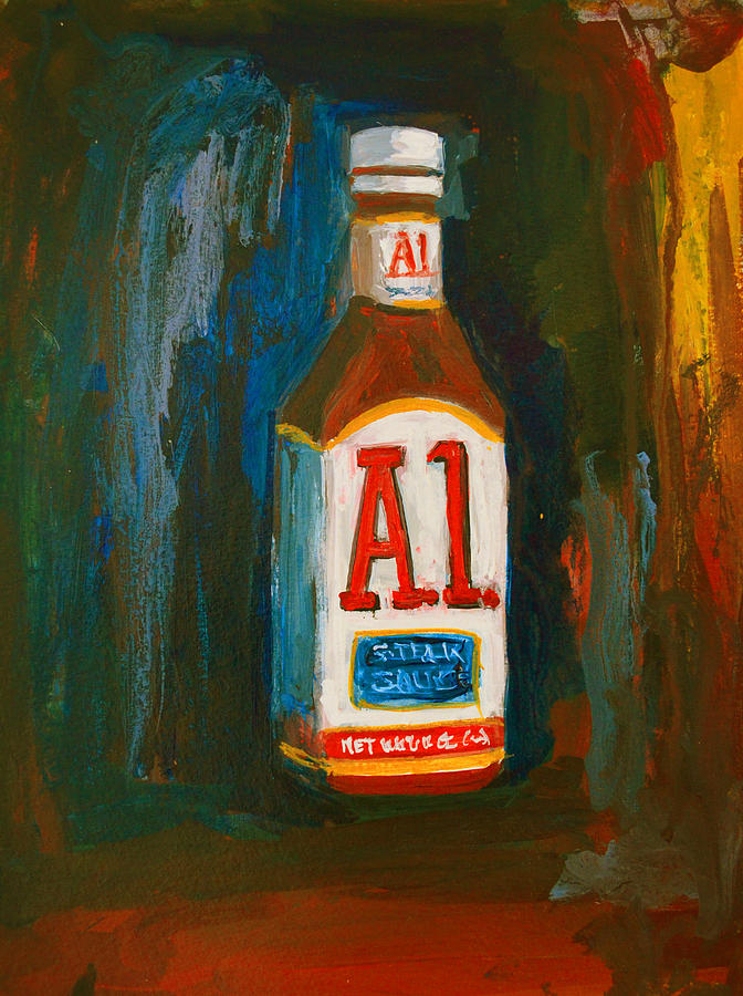 Acrylic Painting - Full Flavored - A.1 Steak Sauce by Patricia Awapara