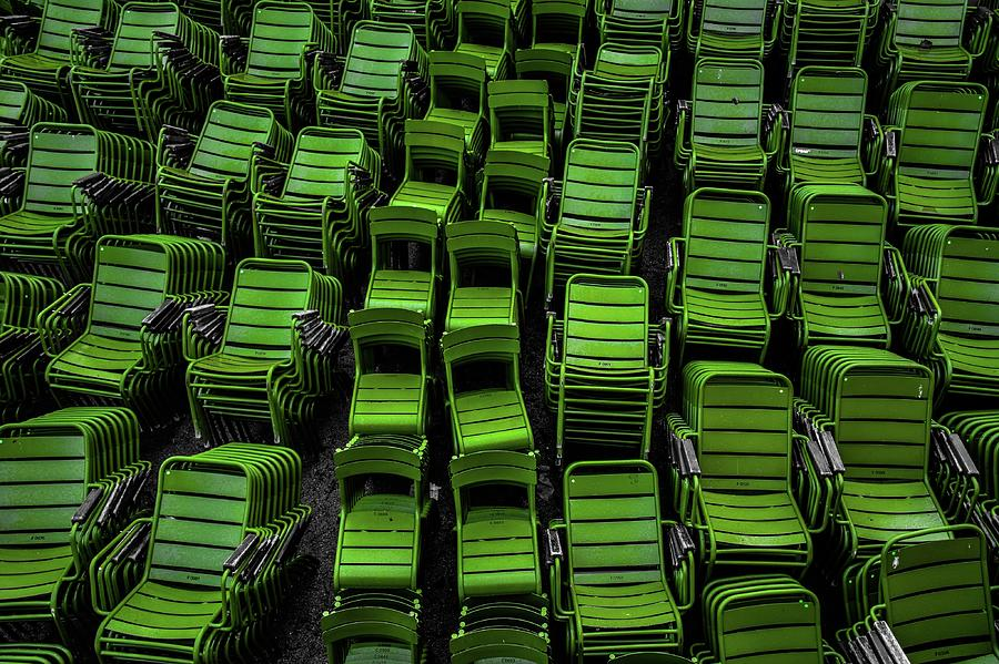 Full Frame Shot Of Green Empty Chairs Photograph by Nicolas Esparon / Eyeem