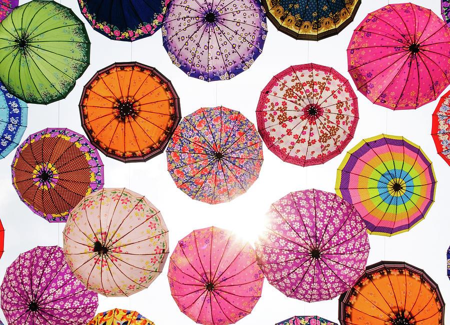 Full Frame Shot Of Umbrellas Against Sky Photograph by Mónica Durán / Eyeem