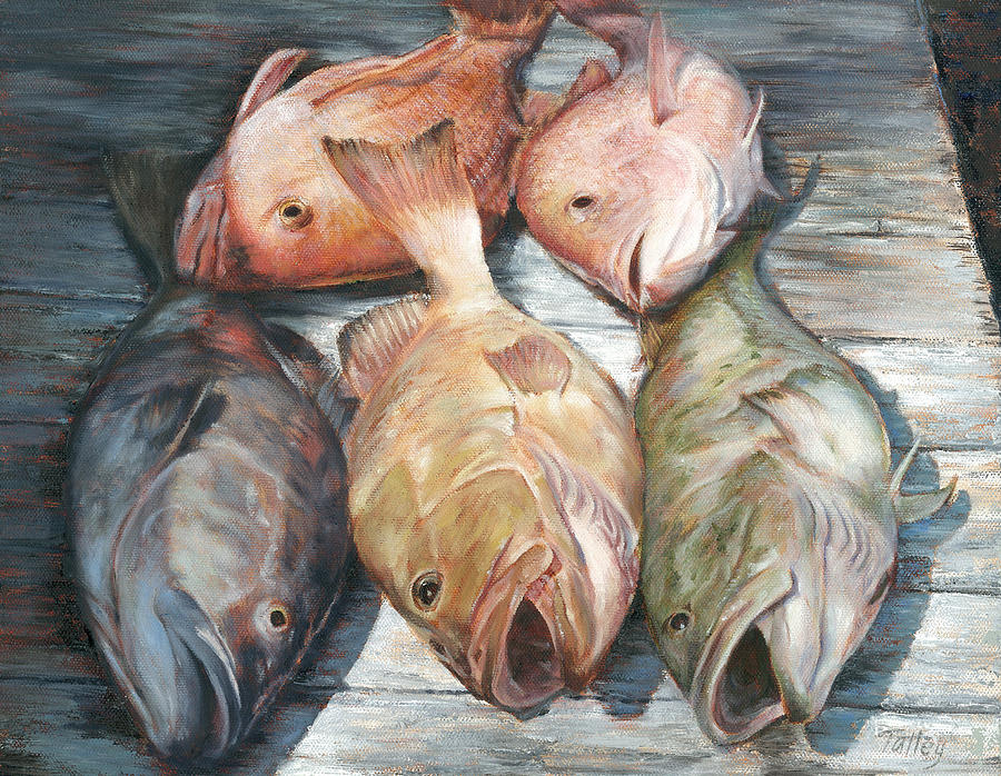Grouper Painting - Full House by Pam Talley