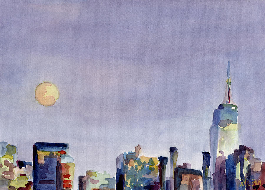 Empire State Building Painting - Full Moon And Empire State Building Watercolor Painting Of Nyc by Beverly Brown Prints