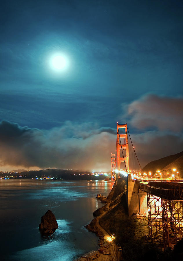 Full Moon And Fog Over The Golden Gate Bridge Photograph