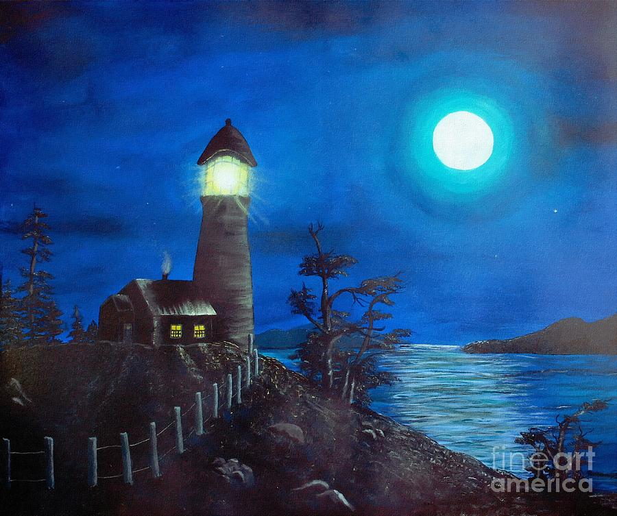 Night Digital Art - Full Moon and Lighthouse Digital Painting by Barbara Griffin