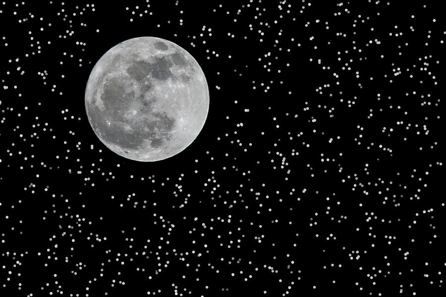 Astronomy Photograph - Full Moon And Stars by Frank Feliciano