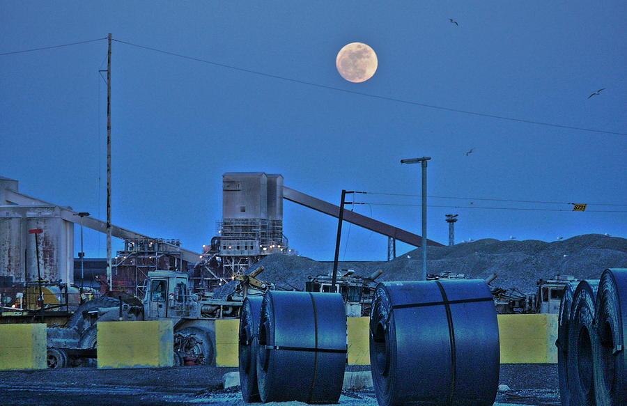 Full Moon And Steel Coils Photograph by Al Shields