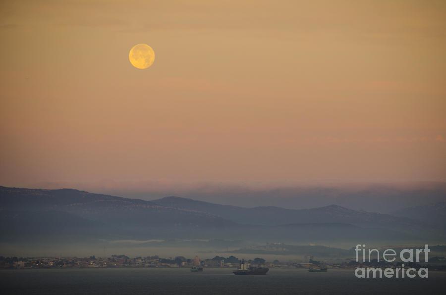 Gibraltar Photograph - Full Moon At Sunrise Over Spanish Coast by Deborah Smolinske