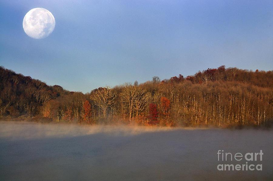 Full Moon Photograph - Full Moon Big Ditch Lake by Thomas R Fletcher