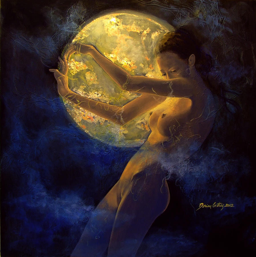 Woman Painting - Full Moon by Dorina  Costras