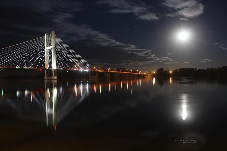 Burlington Photograph - Full Moon Great River Bridge by Holly Carpenter