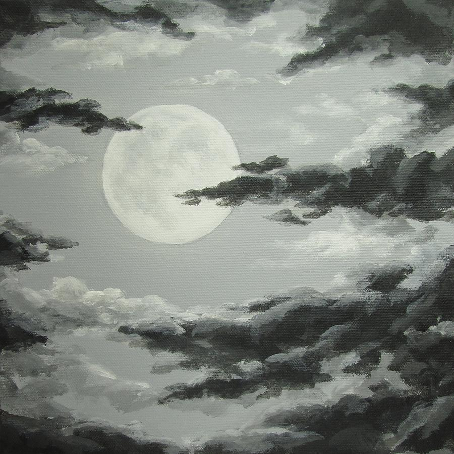 Full Moon Painting - Full Moon In A Cloudy Sky by Anna Bronwyn Foley