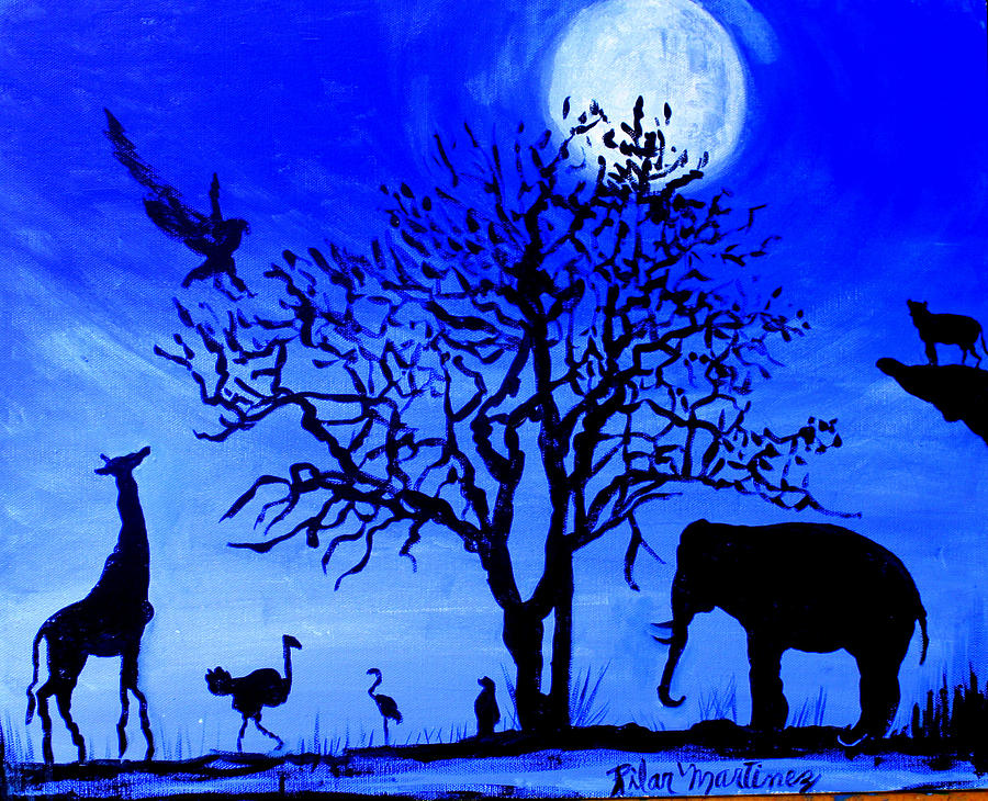 Beautiful Night With A Full Moon Painting - Full Moon In Africa by Pilar  Martinez-Byrne