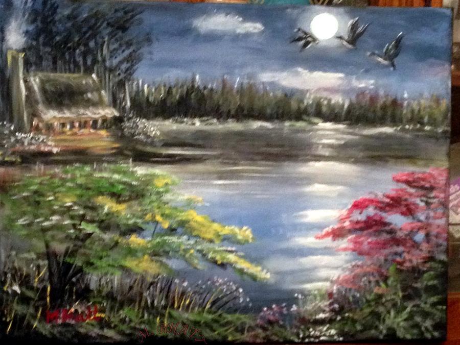 Full Moon Painting - Full Moon Night by M Bhatt