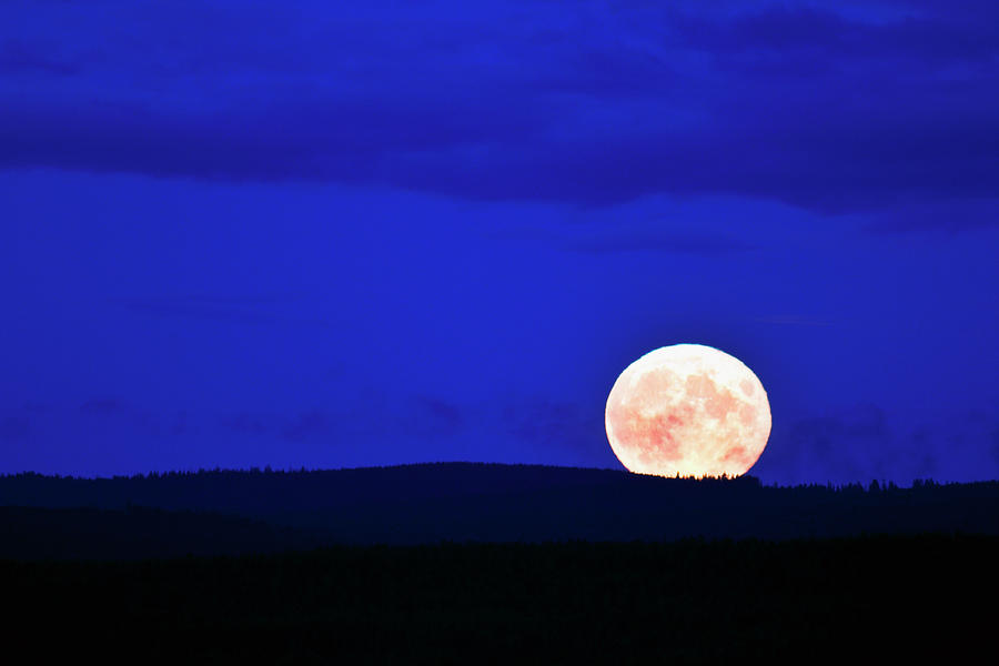 Full Moon Over Horizon Photograph by Johner Images