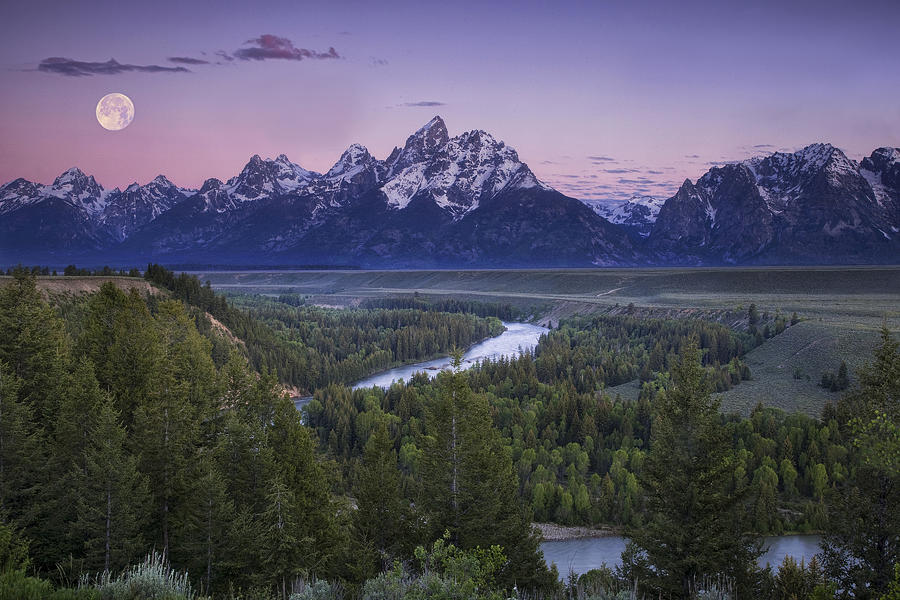 Grand Teton Photograph - Full Moon Over The Mountains by Andrew Soundarajan