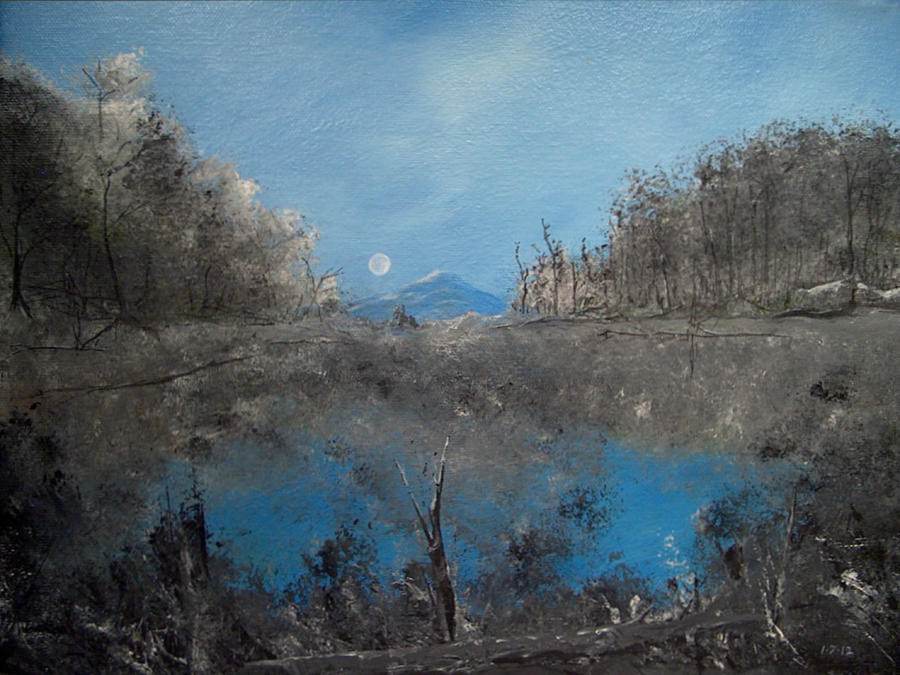 Full Moon Painting - Full Moon Over Volcan by Louis Crosby