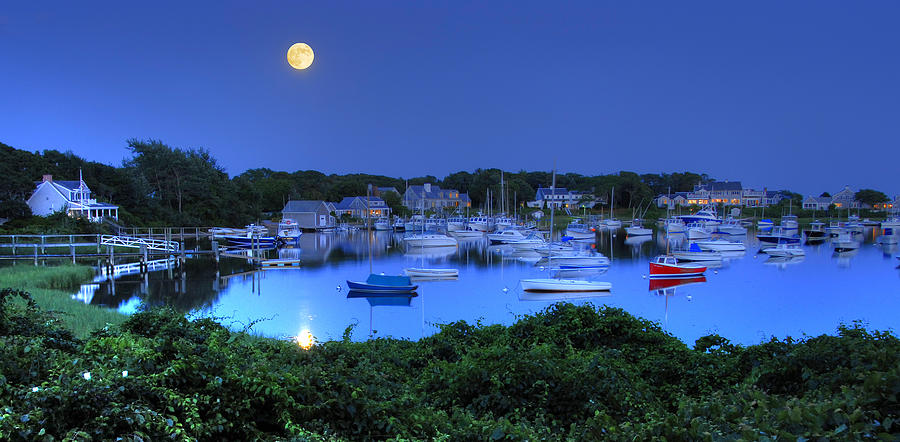 Cape Cod Photograph - Full Moon Over Wychmere Harbor by Ken Stampfer