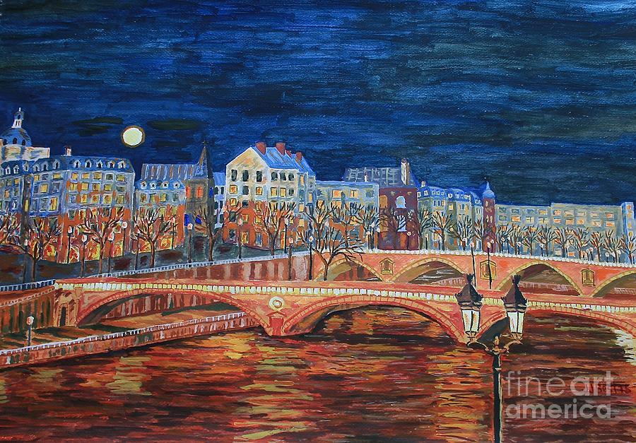 Full moon Paris by Janice Best