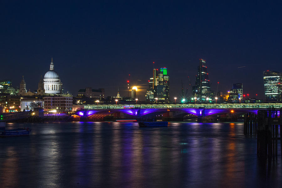 St Pauls Photograph - Full Moon Rise Behind St Pauls by Andrew Lalchan