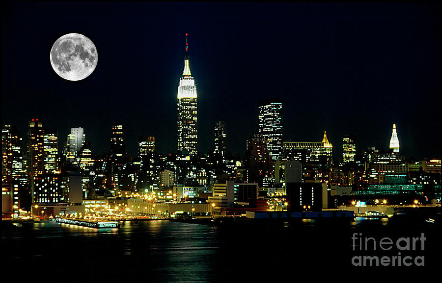 Nyc Photograph - Full Moon Rising - New York City by Anthony Sacco