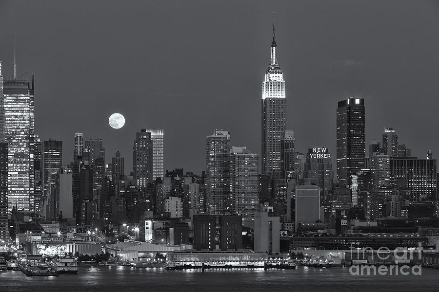 America Photograph - Full Moon Rising Over New York City Iv by Clarence Holmes