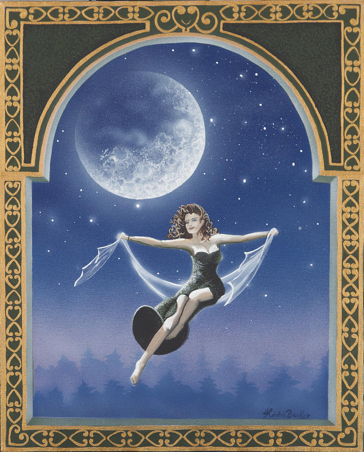 Mystical Painting - Full Moon Swing by Nickie Bradley