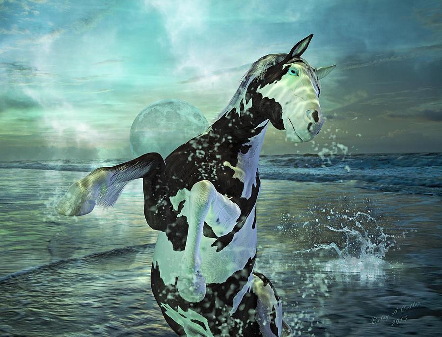 Horse Mixed Media - Full Moon Twist And Shout by Betsy Knapp