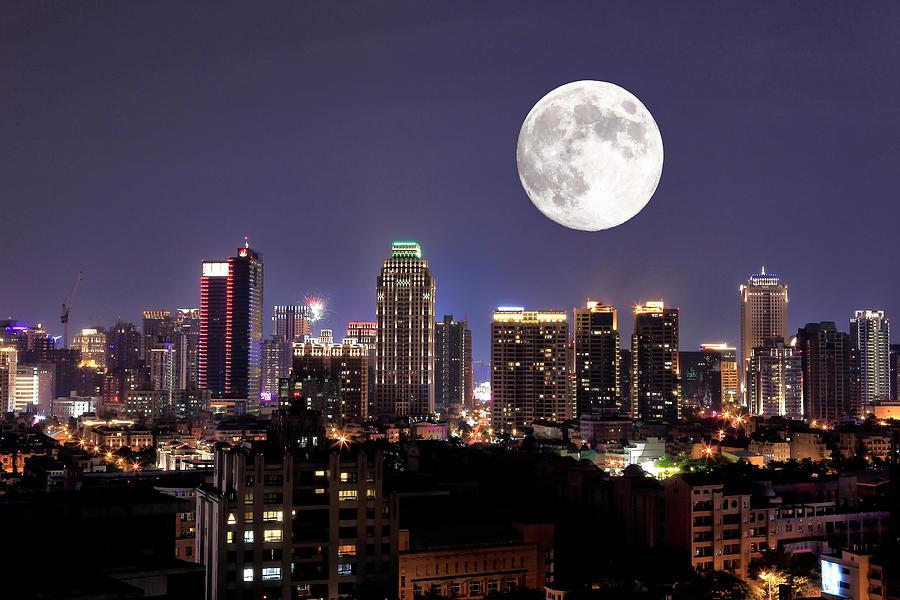 Full Moon Upon Lights Of City Photograph by Thunderbolt tw (bai Heng-yao) Photography