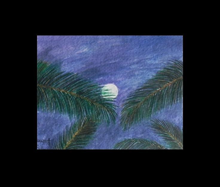 Watercolor Painting - Full Moon by Usha Rai