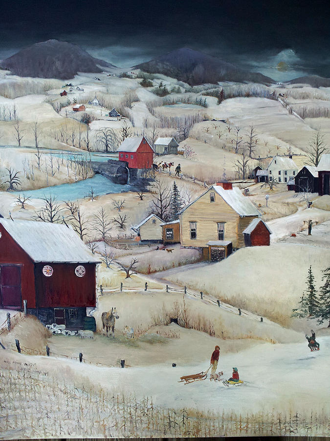 Winter Painting - Full Moon Valley by Cheryl Korb