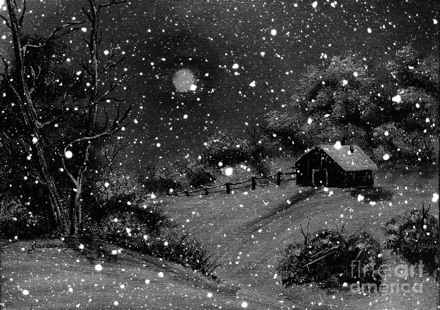Full Moon Winter Night Painting by Barbara Griffin