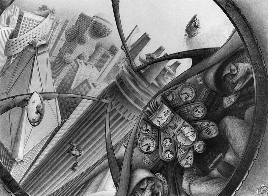 Cockpit Drawing - Full Song by Vincent Jimenez