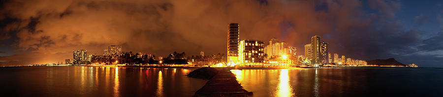 Outdoors Photograph - Full View Of Waikiki Beach At Night by Ian Ludwig