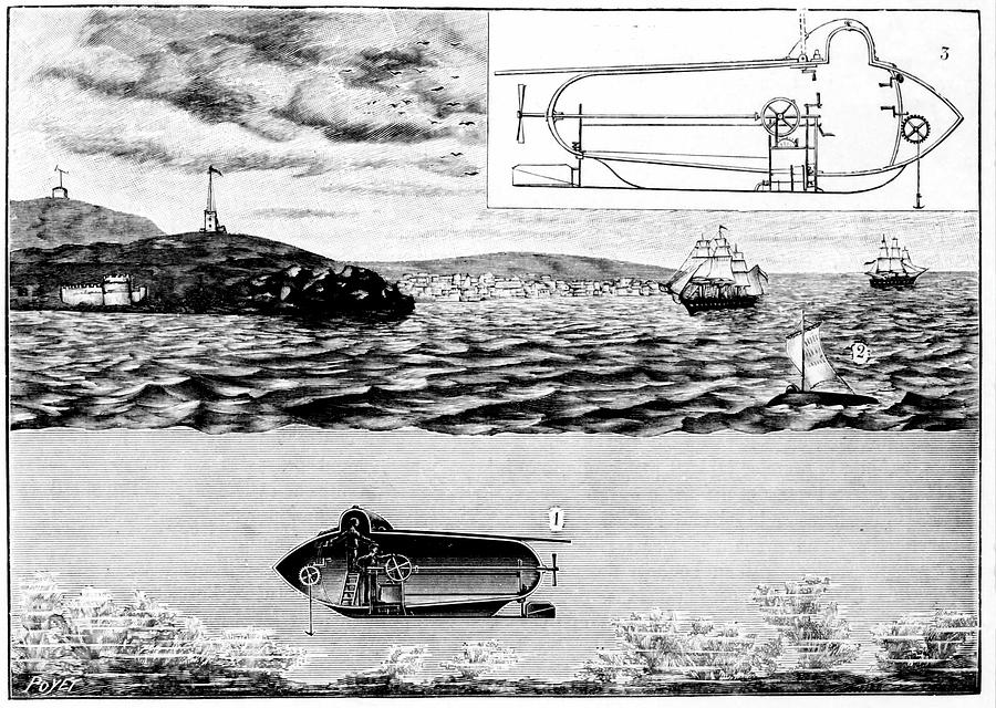 1801 Photograph - Fultons Nautilus Submarine by Universal History Archive/uig