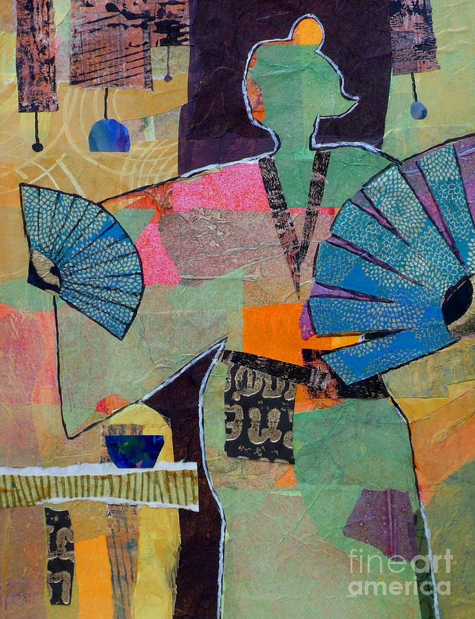 Asian Painting - Fumikos Fan Dance by Melody Cleary