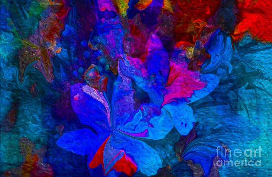 Abstract Painting - Fun Abstract Flowers In Blue by Sherris Of Palm Springs