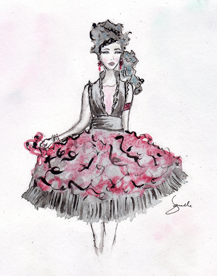 Red And Black Party Dress Sketch Mixed Media By Janelle Nichol