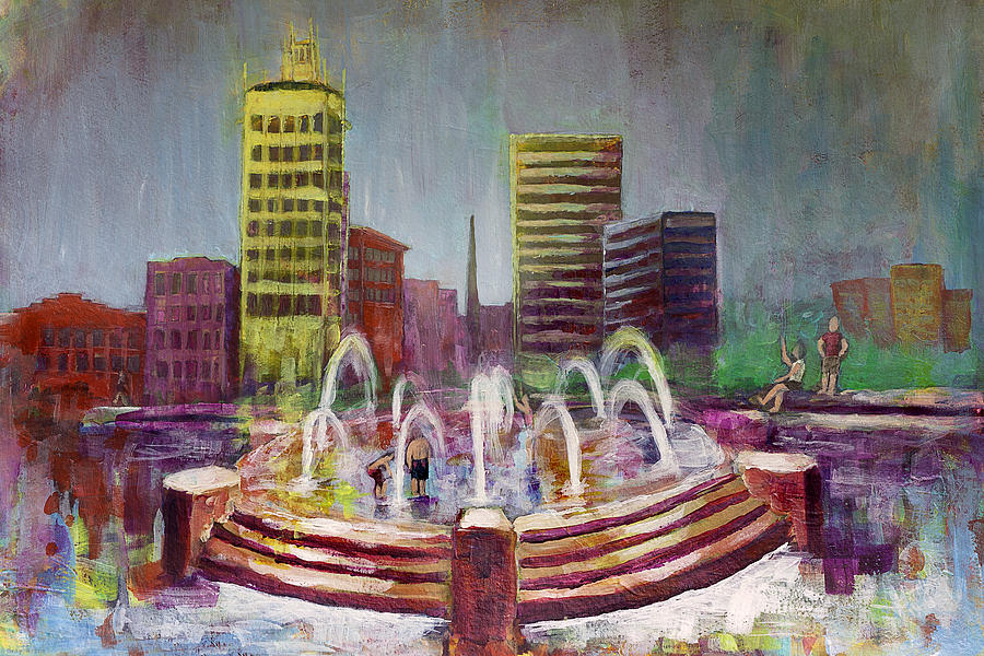 Asheville Fountain Painting - Fun In The Fountain In Asheville by Gray  Artus