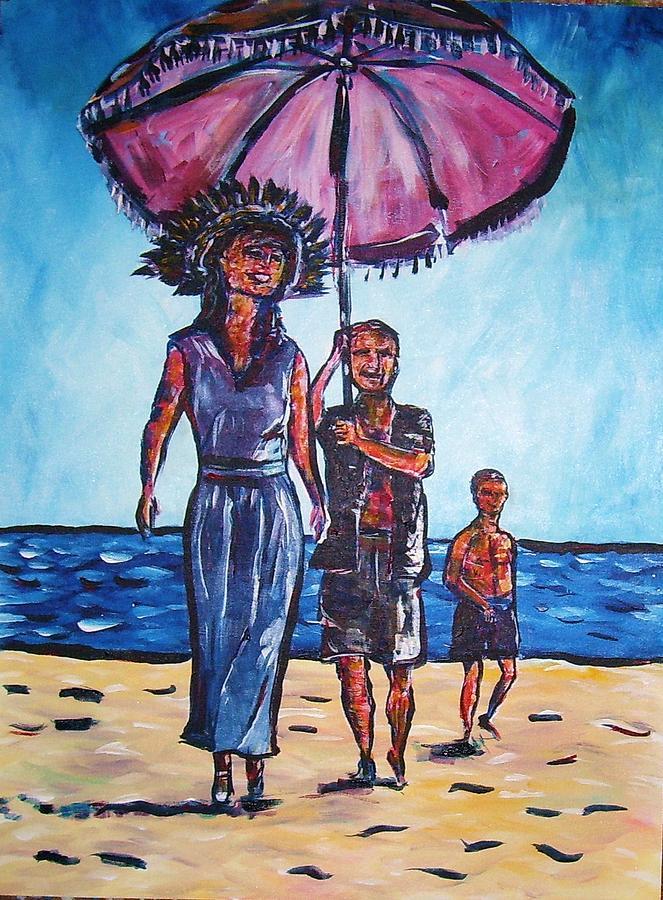 Beach Sand Water Painting - Fun In The Sun by Linda Vaughon