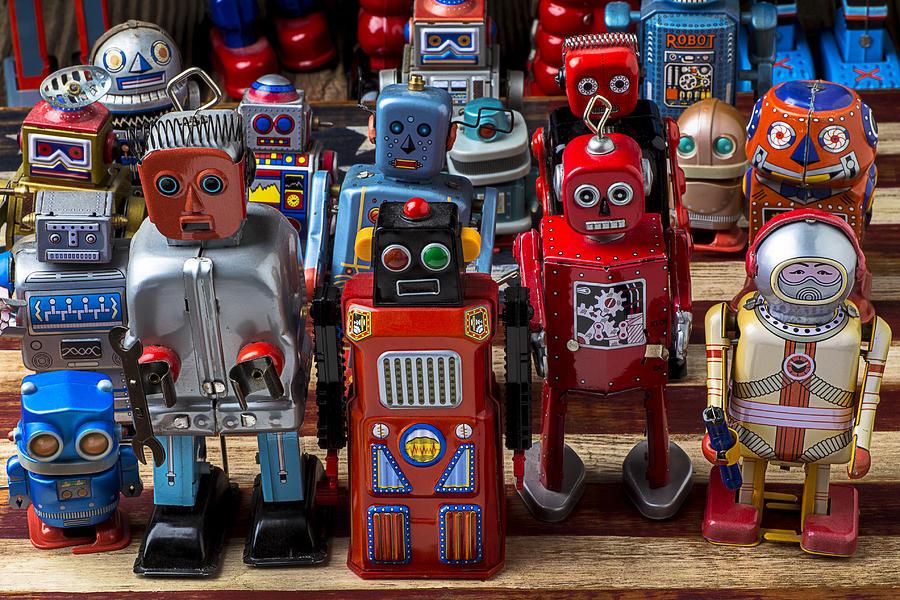 Robots Photograph - Fun Toy Robots by Garry Gay