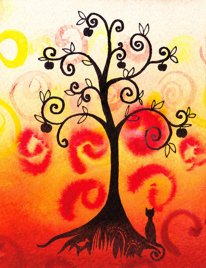 Tree Painting - Fun Tree Of Life Impression Iv by Irina Sztukowski